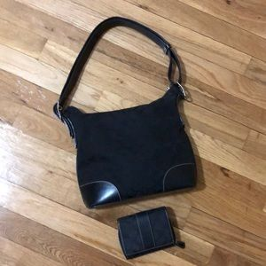 Signature black coach bag with matching wallet